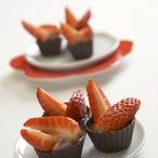 Nugátové košíčky s jahodami