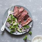 Steak s hráškovým pyré