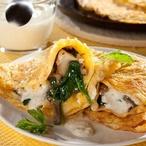 Omelety plněné houbami a špenátem