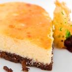 Tvarohový koláč s brusinkovým želé a brandy snaps