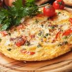 Španělská omeleta s rajčaty a špenátem