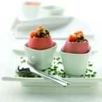 Vařená vejce plněná tartarem z oliv