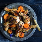 Kuře pečené s levandulí, medem a meruňkami