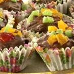 Čokoládové košíčky s kandovaným ovocem