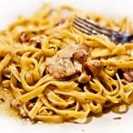 Špagety s liškami a slaninou
