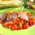 Steakové plátečky s kukuřicí a rajčaty