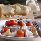 Ceviche spečenými rajčátky a česnekem