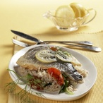 Dušená ryba se zeleninou a rýží
