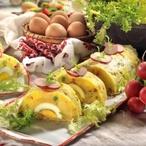 Velikonoční hřbet s vejci, slaninou a hráškem