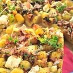 Koláč s bramborami, šunkou a sýrem