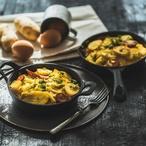Bramborová omeleta na pivě s klobáskou
