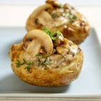 Pečené brambory s dušenými žampiony