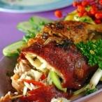 Kuřecí stehna plněná zeleninou a sýrem